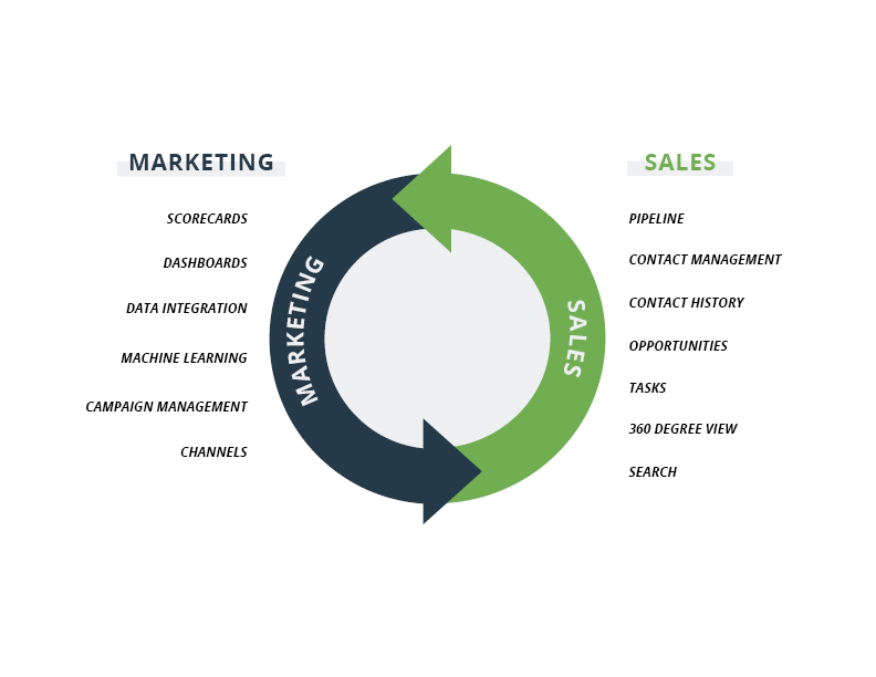 graphic showing the partnership of sales and marketing in a crm